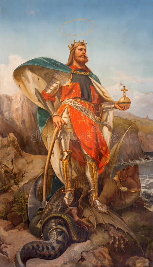 Free Rome - The Painting Of St. Olav The King Of Norway In Church Basilica Dei Santi Ambrogio E Carlo Al Corso. Stock Images - 56828324