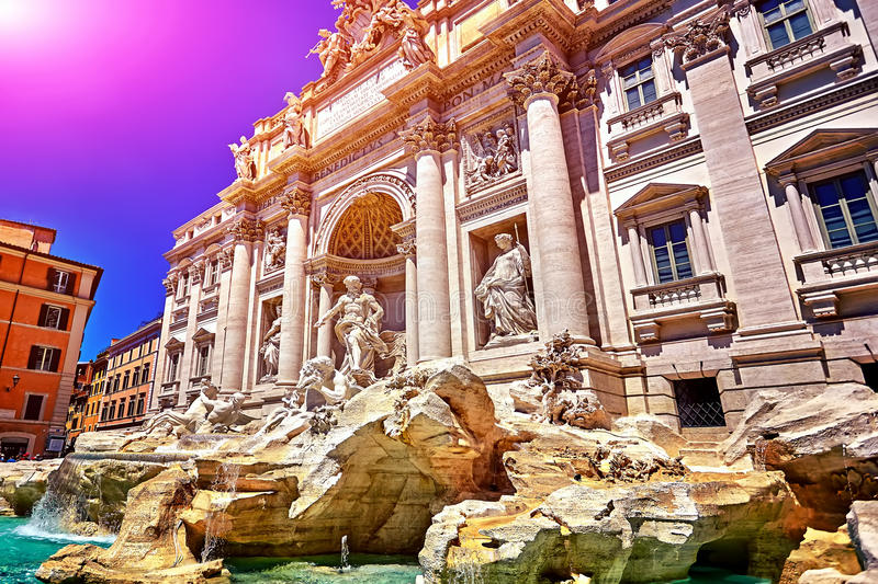Rome Trevi Fountain, Fontana di Trevi in Rome, Italy. The Rome Trevi Fountain, Fontana di Trevi in Rome, Italy. Trevi is most famous fountain of Rome royalty free stock images