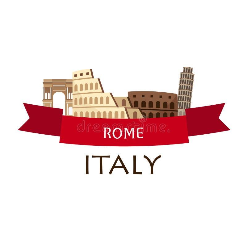 rome Turism Resande illustrationRome stad Modern plan design Italien lopp colosseum royaltyfri illustrationer