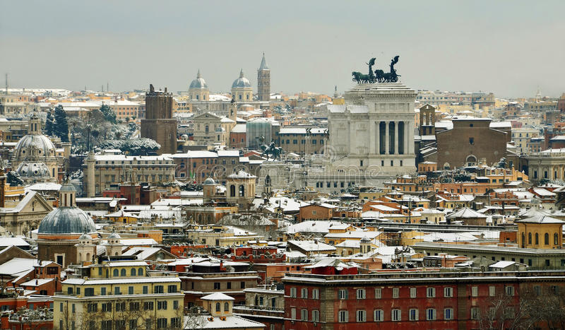 Rome Under Snow Stock Image