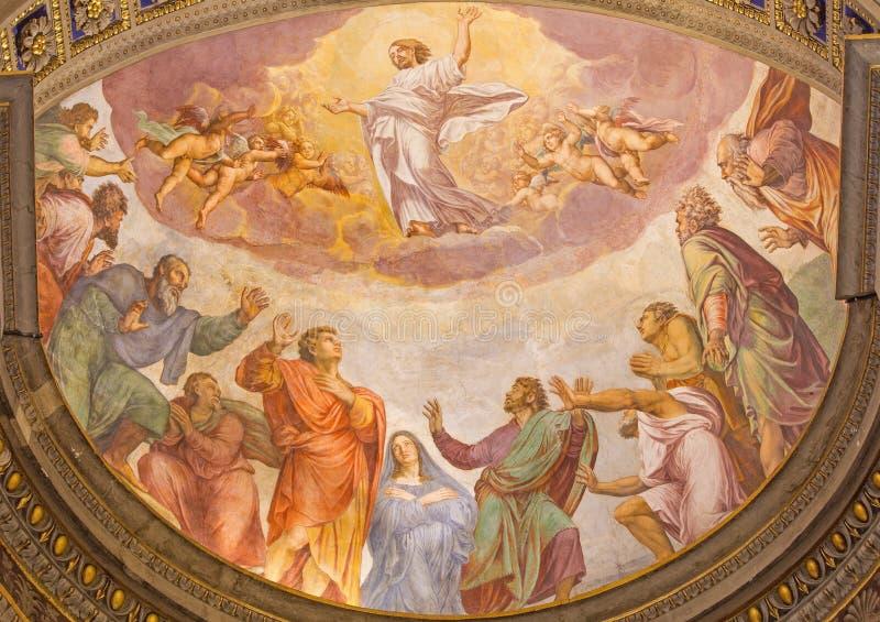 Rome - uppstigningen av Herrefreskomålningen i kyrklig Santa Maria dellAnima av Francesco Salviati från 16 cent royaltyfria bilder