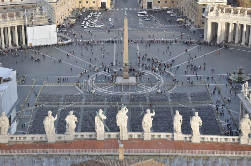 Rome / Vatican - Saint Peters Square. View from the top of San Pietro (St. Peters) basilica stock image