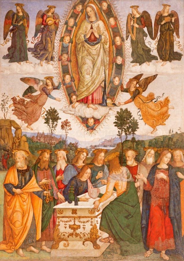 Rome - Veronderstelling van Maagdelijke Mary door helper van Aiuto del Pinturicchio in Basso-de kapel van dellarovere in kerk royalty-vrije stock foto