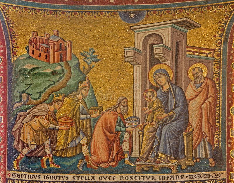 Rome - vieille mosaïque de l'adoration des Rois mages en Di Santa Maria de basilique d'église dans Trastevere de 13 cent par Piet image libre de droits