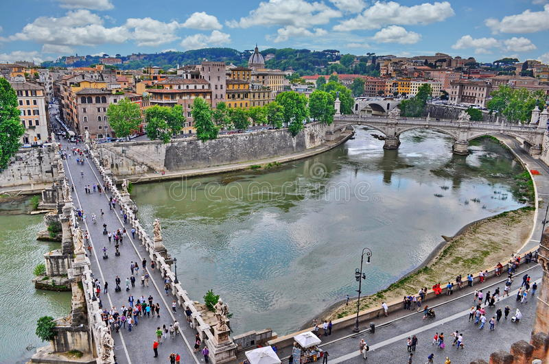 Rome, Italy. Rome view from Sant Angelo Castle with Tiber river and bridges, Italy royalty free stock photography