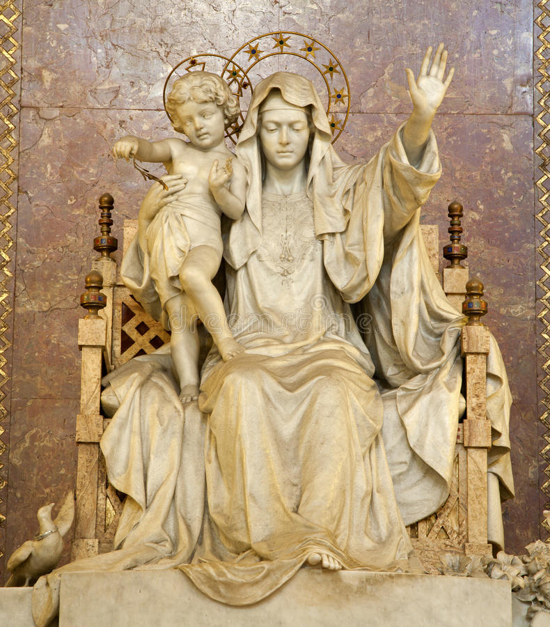 Rome - virgin Mary statue stock photography