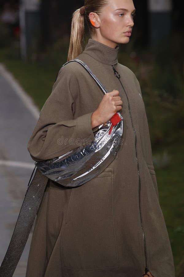 Romee Strijd geht die Rollbahn während der elfenbeinfarbenen Show als Teil Paris-Mode-Woche Womenswear-Frühlinges/Sommers 2019 lizenzfreie stockfotos