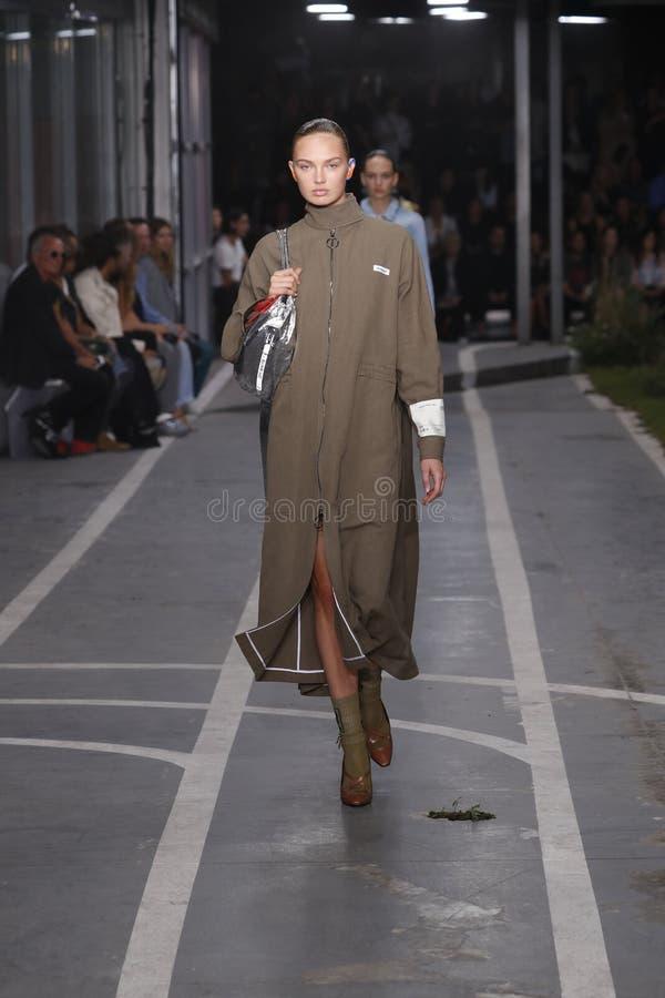Romee Strijd geht die Rollbahn während der elfenbeinfarbenen Show als Teil Paris-Mode-Woche Womenswear-Frühlinges/Sommers 2019 lizenzfreie stockbilder