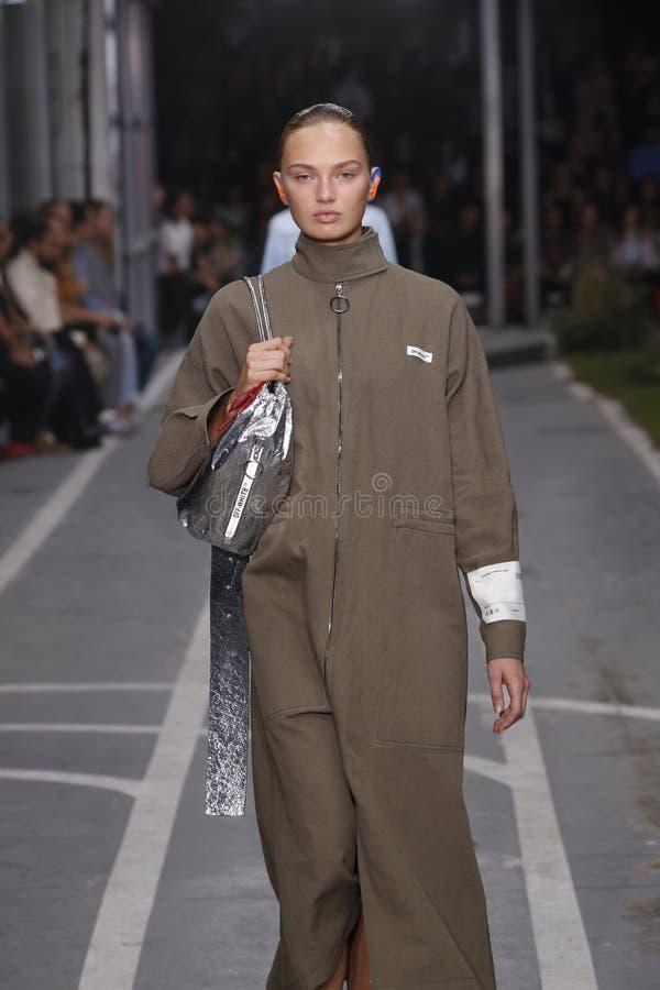 Romee Strijd geht die Rollbahn w?hrend der elfenbeinfarbenen Show als Teil Paris-Mode-Woche Womenswear-Fr?hlinges/Sommers 2019 stockbilder