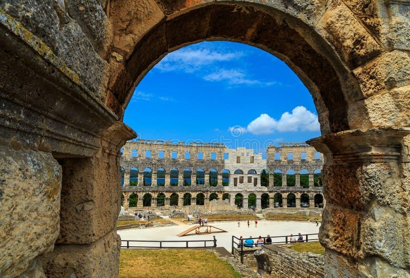 Romein amphitheatre in Pula, Istria-gebied, Kroatië, Europa stock afbeeldingen
