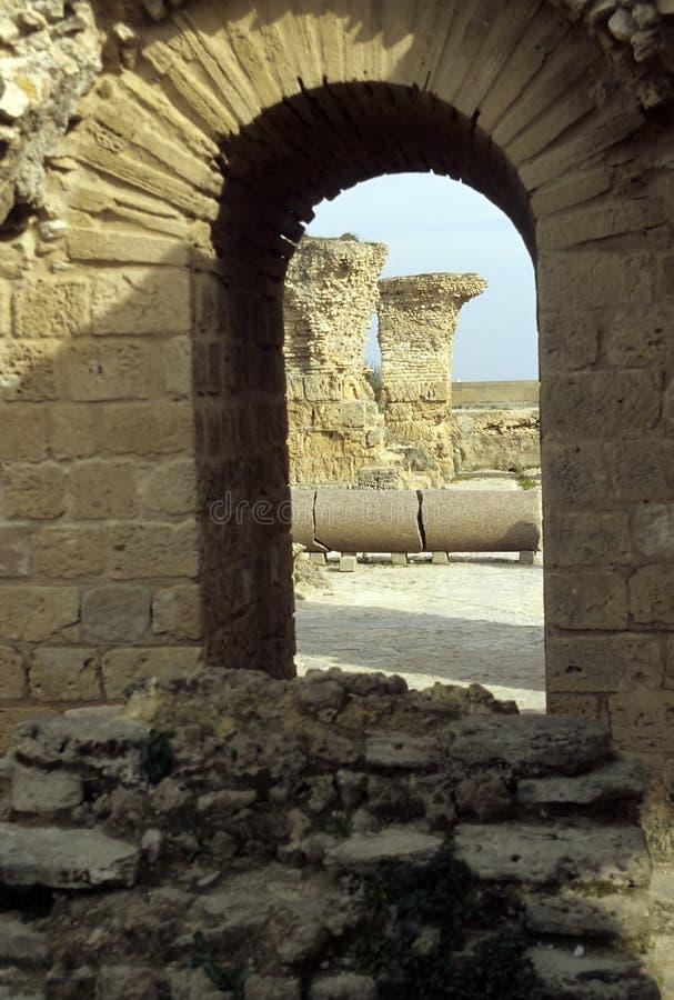 Romein ruïneert Carthago, Tunesië stock foto's