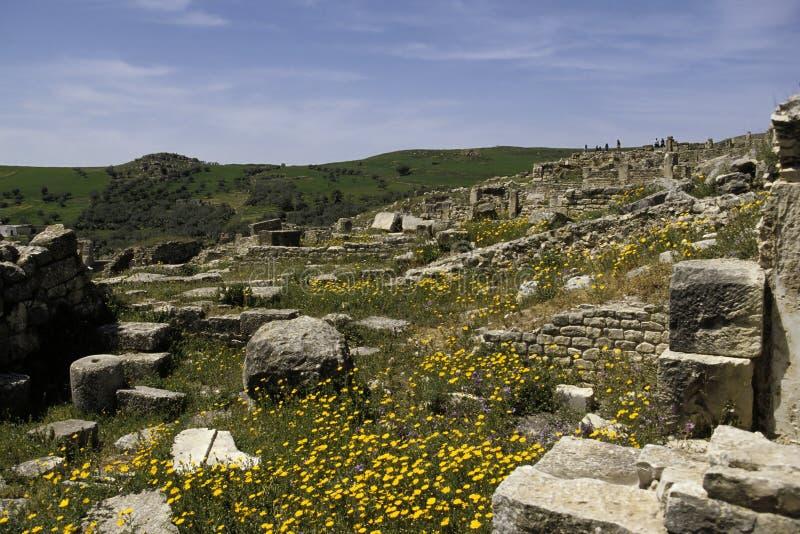 Romein ruïneert Tunesië stock afbeeldingen