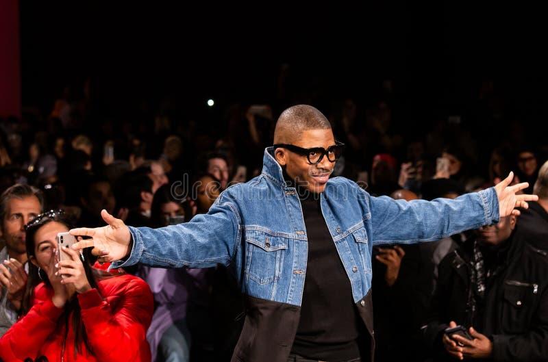 Romeo Hunte Men och för kvinnor FW19 landningsbanashow som delen av New York Fashion Week arkivfoto