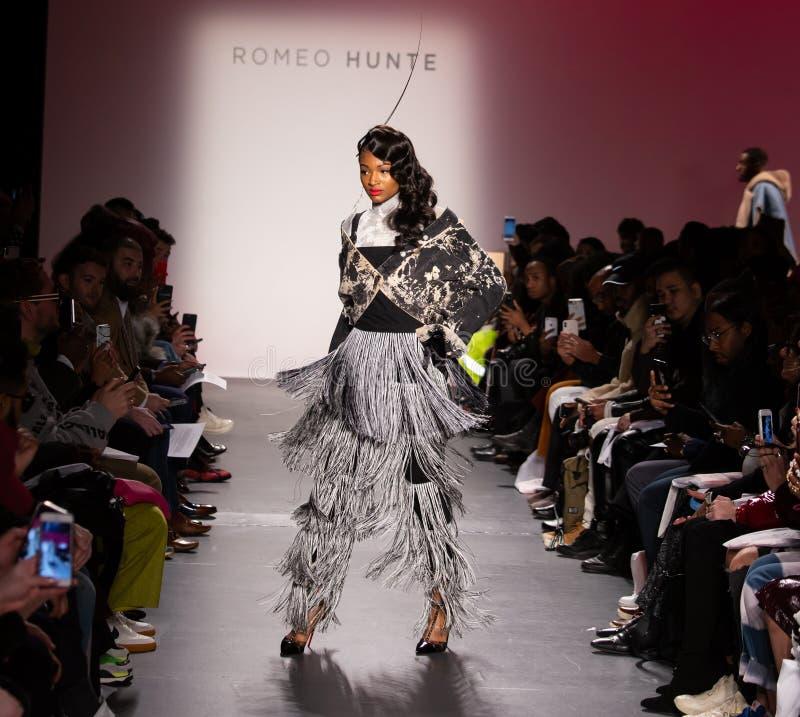 Romeo Hunte Men och kvinnamodeshow som delen av New York Fashion Week royaltyfria foton