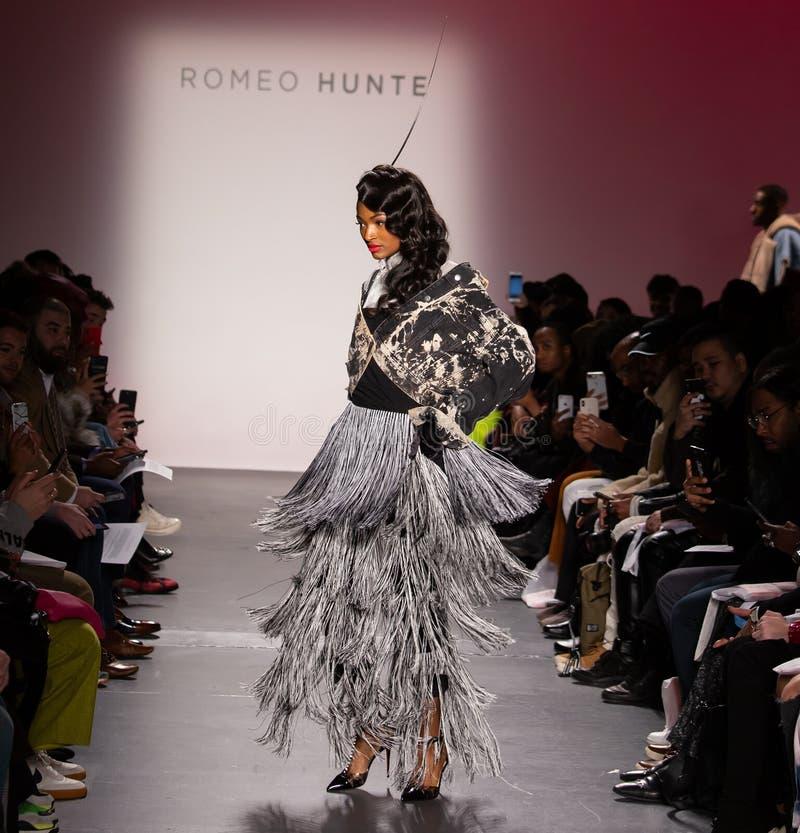 Romeo Hunte Men och kvinnamodeshow som delen av New York Fashion Week royaltyfri foto