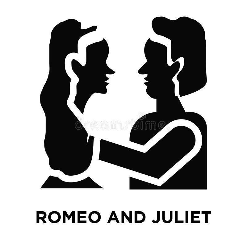 Romeo i juliet ikony wektor odizolowywający na białym tle, logo ilustracja wektor