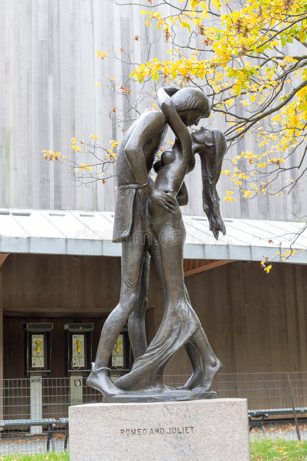 Romeo and Juliet. Statue of Romeo and Juliet in front of the Delacorte theatre where the even Shakespeare in the Park takes place during the summer royalty free stock image