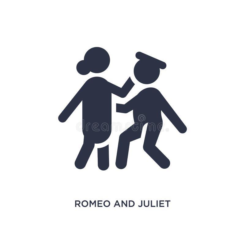 romeo och julietsymbol på vit bakgrund Enkel beståndsdelillustration från litteraturbegrepp royaltyfri illustrationer