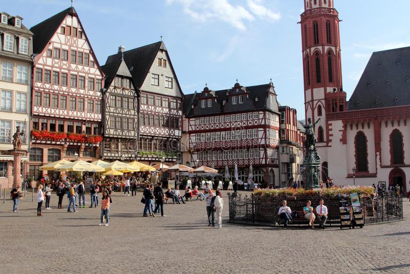 Romer kwadrat w Frankfurt na magistrali, Niemcy fotografia stock