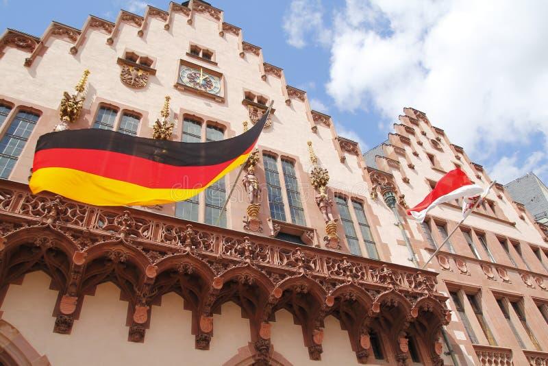 Romer at Romerberg, city hall of Frankfurt. German flag in Romer at Romerberg, city hall of Frankfurt royalty free stock photography