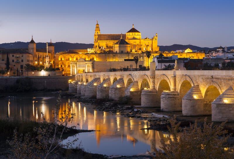 Romersk bro och Cordoba på natten royaltyfria bilder