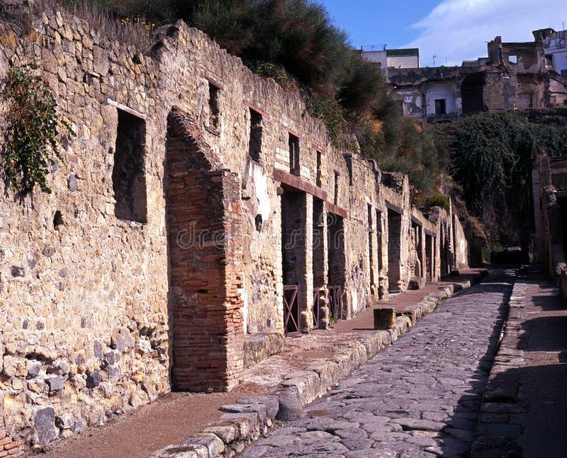 Romersk gata, Herculaneum, Italien. royaltyfri foto