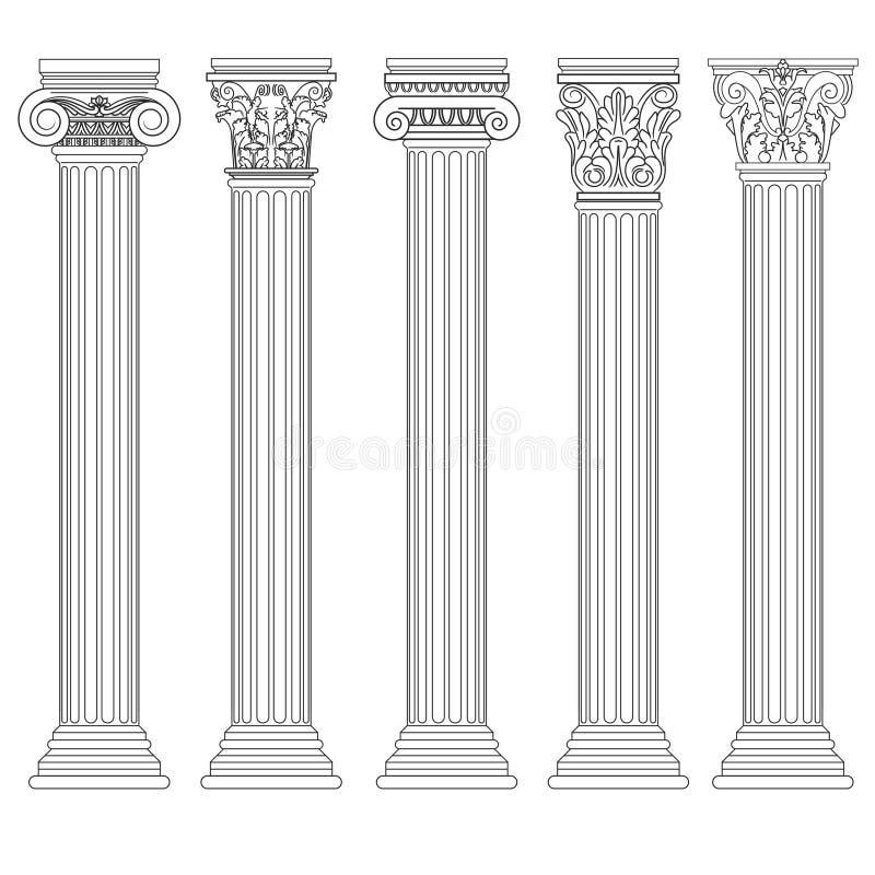 Romersk kolonnuppsättning, grekisk pelare, forntida arkitektur vektor illustrationer