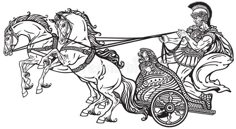 Romersk krigtriumfvagn stock illustrationer