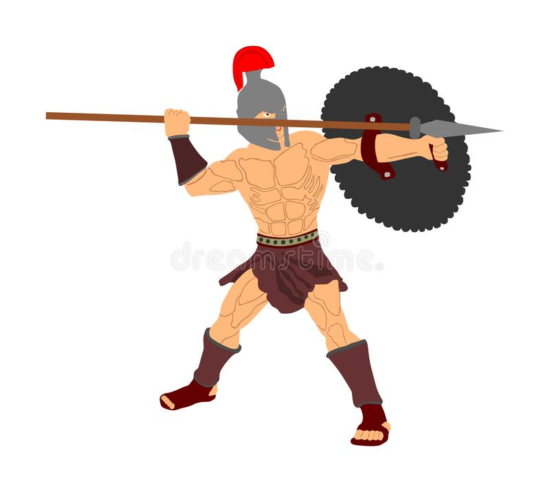 Romersk legionärsoldat i strid med skölden och spjutet royaltyfri illustrationer