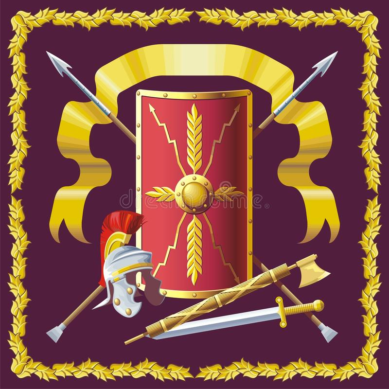 Romersk rustning stock illustrationer