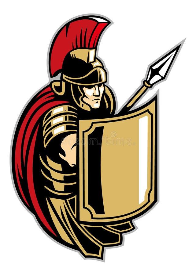Romersk soldat med den stora skölden royaltyfri illustrationer