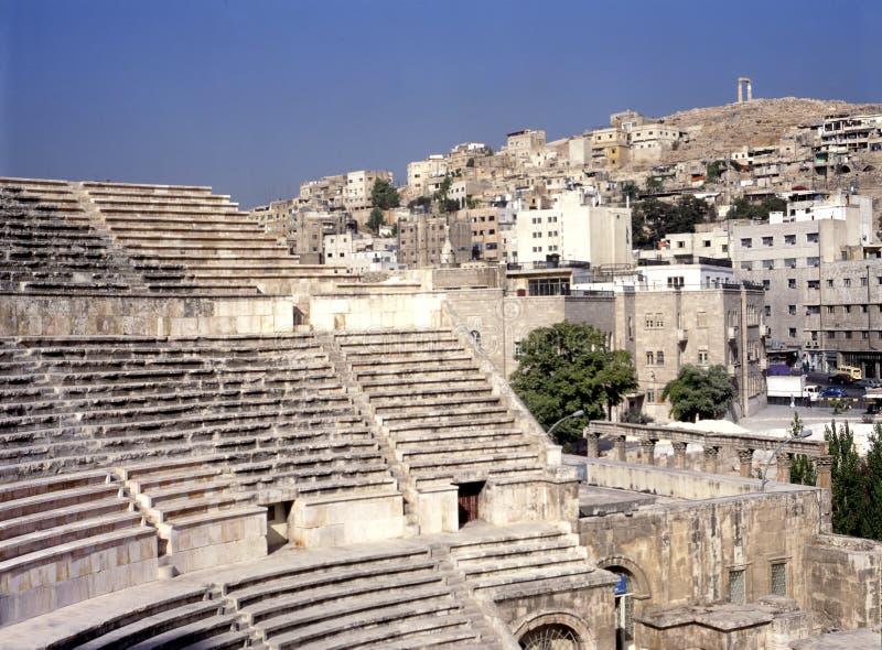 Romersk teater i Amman, Jordanien royaltyfri fotografi