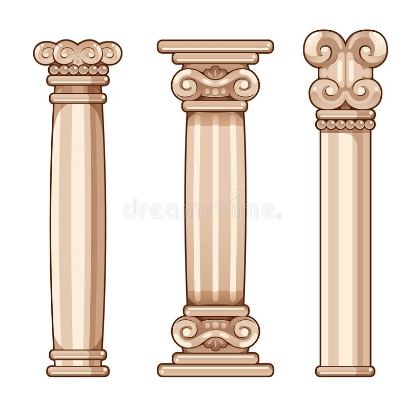 Romerska och grekiska kolonner för tecknad film, för inre och yttersida stock illustrationer