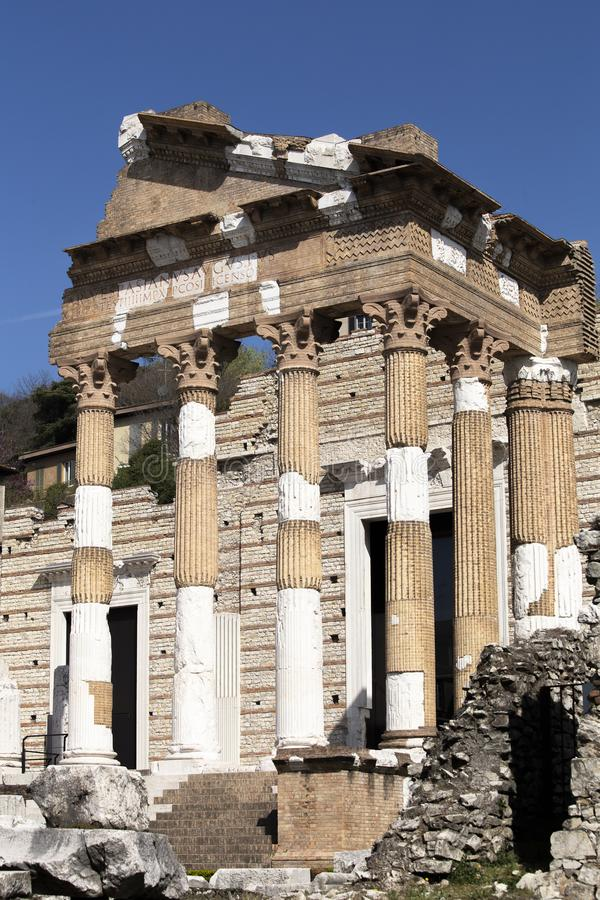 Romerskt fördärvar i Brescia arkivbilder