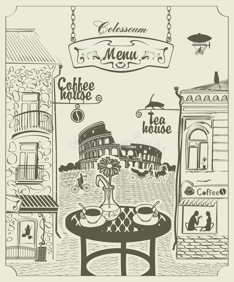 Romes kawiarnia royalty ilustracja