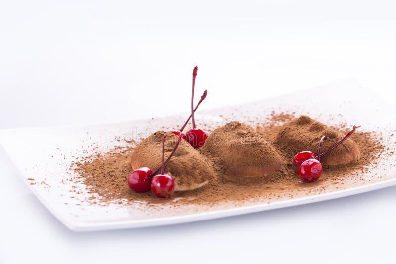 Romig roomijs met chocolade op een witte plaat royalty-vrije stock foto
