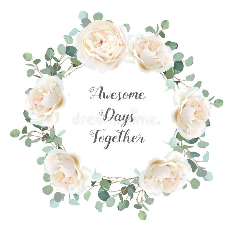 Romig witte rozen en zilveren de takkenvector van de dollareucalyptus vector illustratie