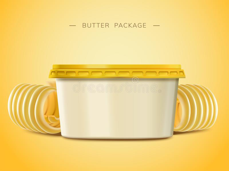 Romige boter lege container stock illustratie