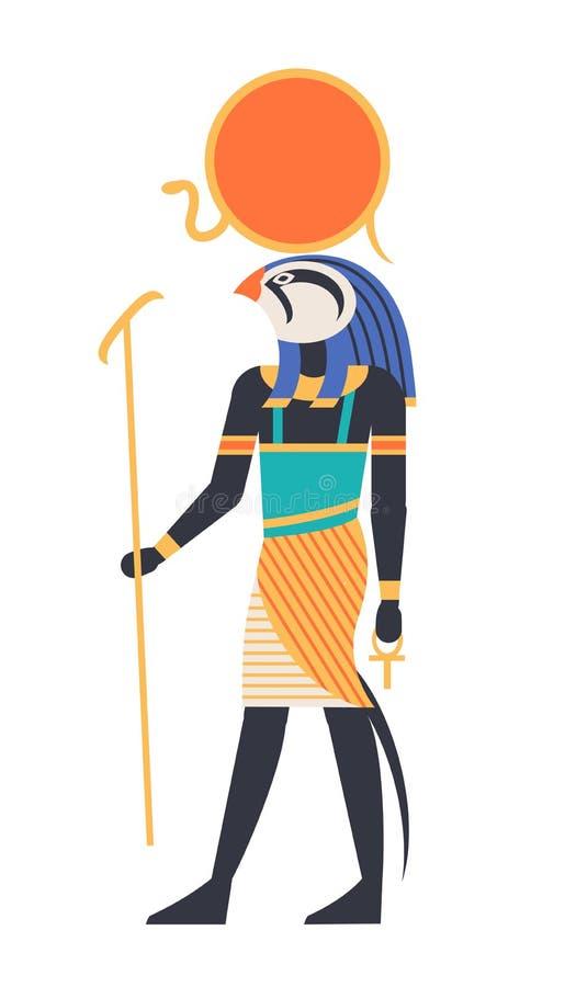 Rommar - gud av solen, skaparen, guden eller den mytologiska varelsen med det fågel-, hök- eller falkhuvudet som rymmer ankhsymbo stock illustrationer
