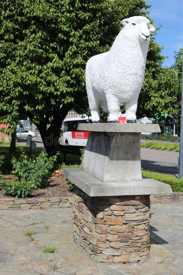 Romney Statue, ram sculpture, in Gore, New Zealand royalty free stock image