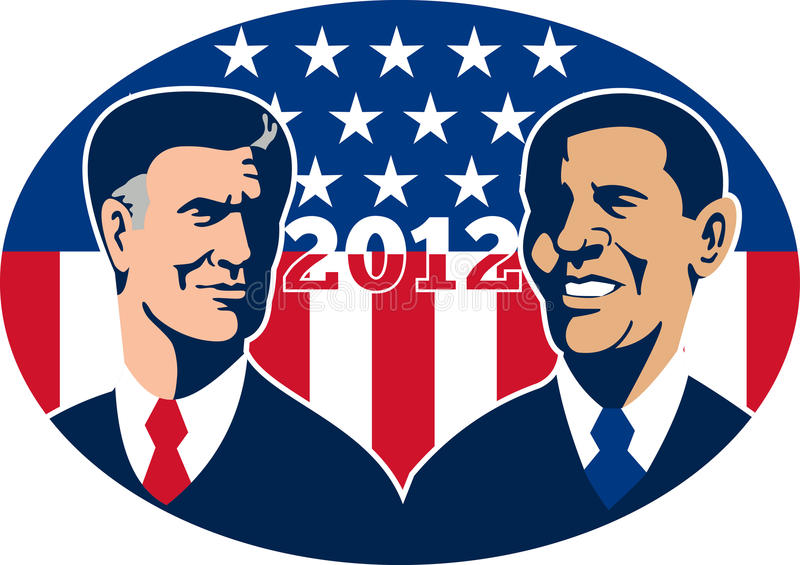Romney Vs Obama American Elections 2012. Illustration of American Presidential Republican candidate Mitt Romney and President Barack Obama with stars and stripes