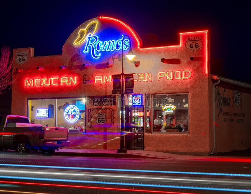 Romo`s Mexican American Food, Neon Sign. Route 66. stock photography