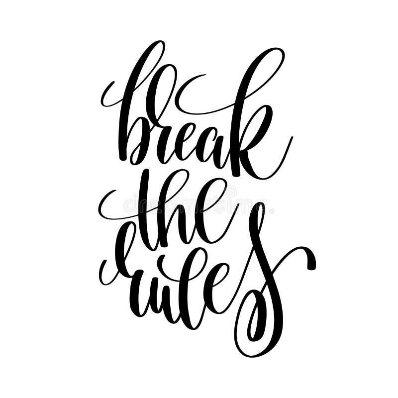 Rompa el p de motivación de las reglas e inspirado blanco y negro stock de ilustración