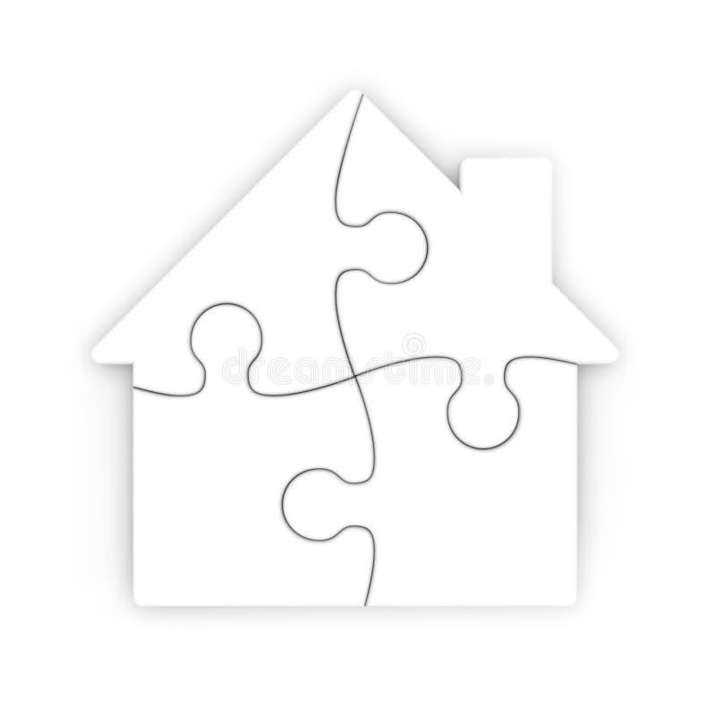Rompecabezas aislado de una casa con el camino de recortes libre illustration