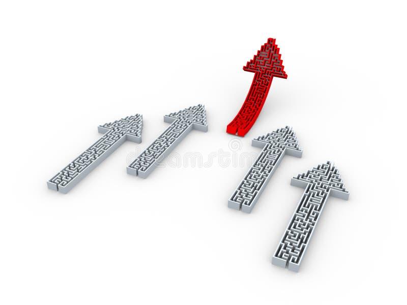 rompecabezas ascendente de levantamiento del laberinto de la forma de la flecha del rojo 3d ilustración del vector