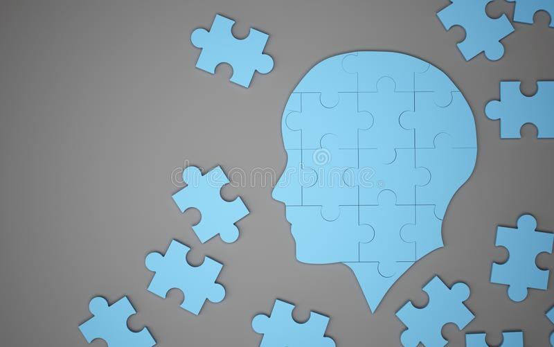 Rompecabezas azul como cerebro humano Concepto creativo de la idea 3d ilustración del vector