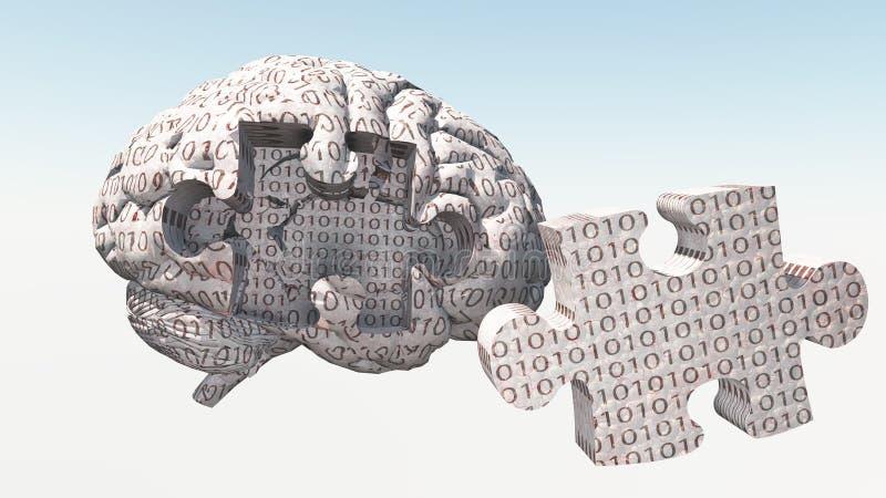 Rompecabezas binario del cerebro stock de ilustración