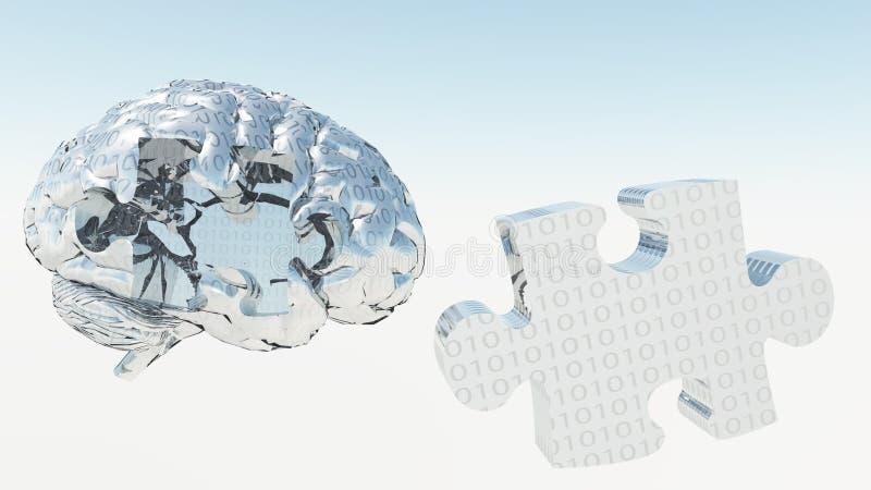 Rompecabezas binario del cerebro ilustración del vector
