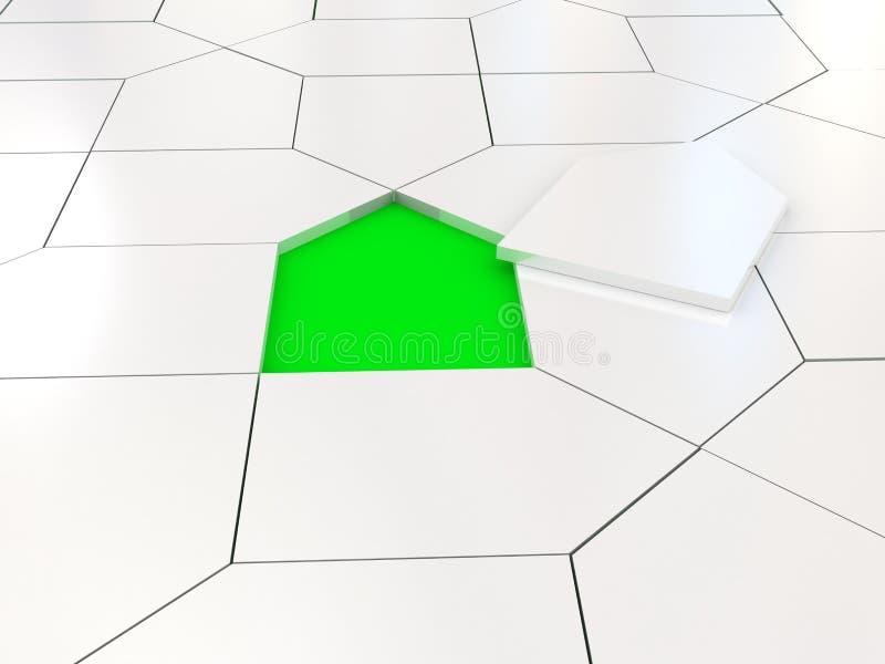 Rompecabezas blanco de la casa sobre verde libre illustration