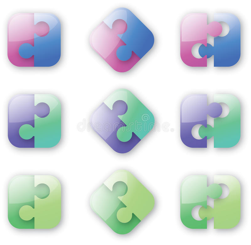 Rompecabezas Button-like stock de ilustración